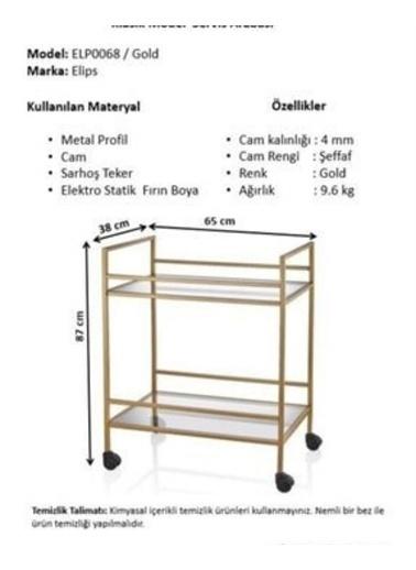 Maxmillen İçecek Servis Arabası Gold -Şeffaf Cam Raf. Altın
